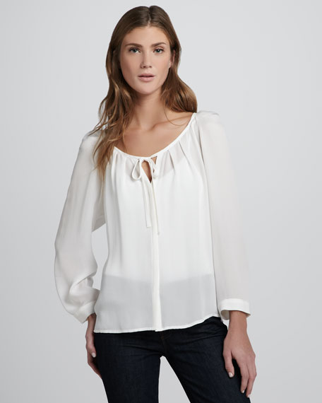 Devin Tie-Front Silk Blouse