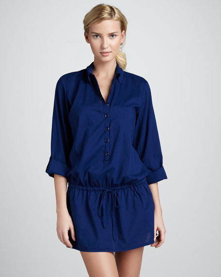 Drawstring Button-Down Tunic, Navy