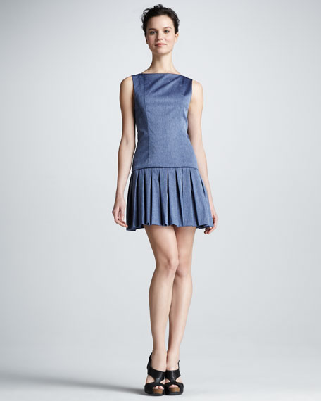 Alice   Olivia Harper Pleated-Skirt Dress