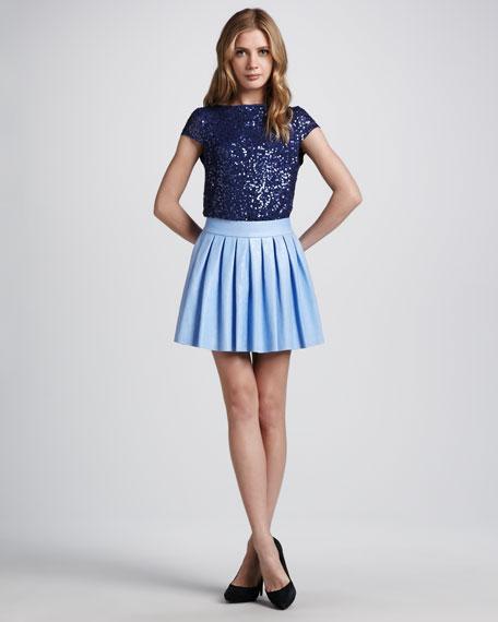 Box-Pleat Leather Skirt