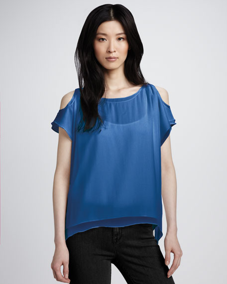Open-Shoulder Silk Top