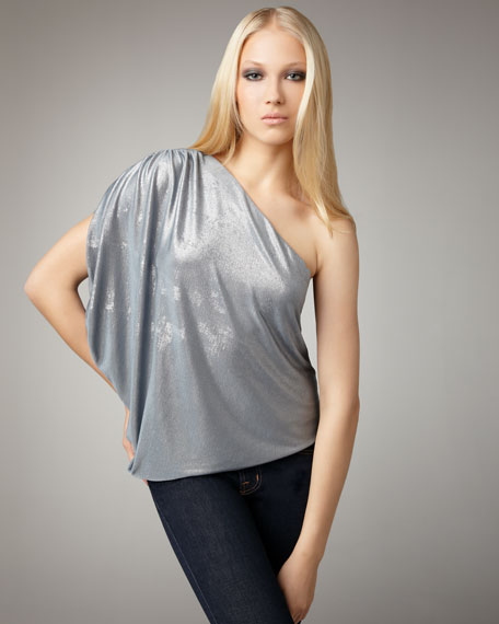Hannah Metallic One-Shoulder Top