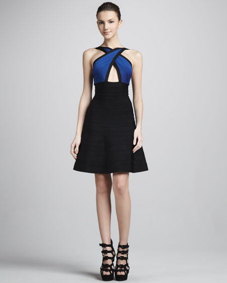 Crisscross Cutout A-Line Bandage Dress