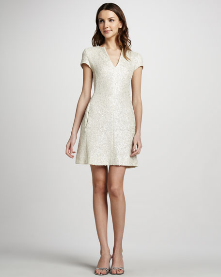 Shimmer Tweed Cap-Sleeve Dress