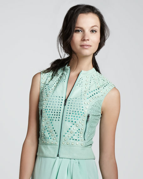 Studded Perforated Leather Vest