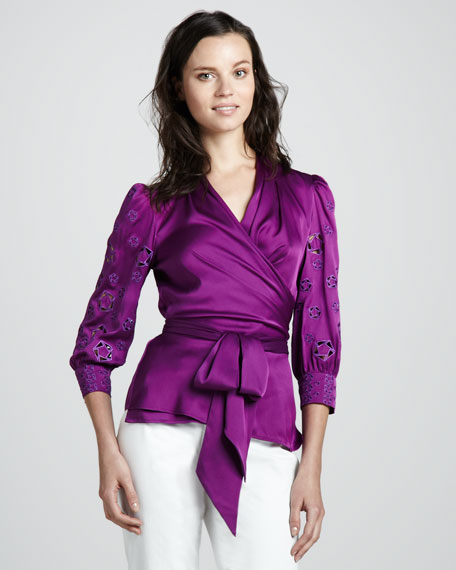 Wrap Blouse with Cutout Sleeves