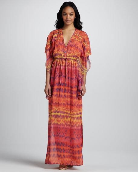 Embellished Caftan Maxi Dress