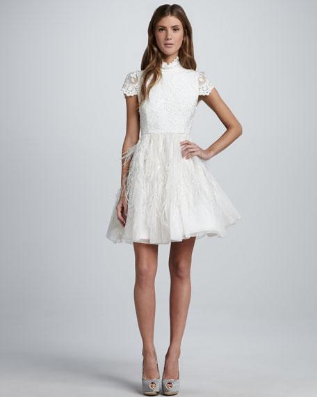 Feather-Skirt Open-Back Dress