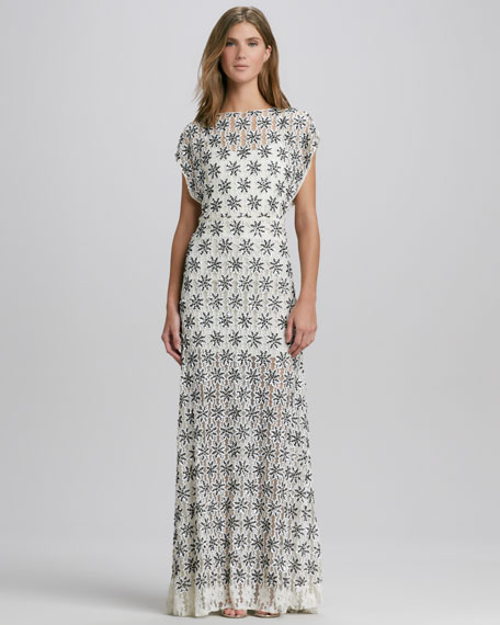 Risa Boat-Neck Lace Gown