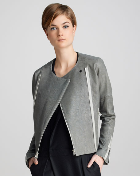 Marie Textured Leather Jacket