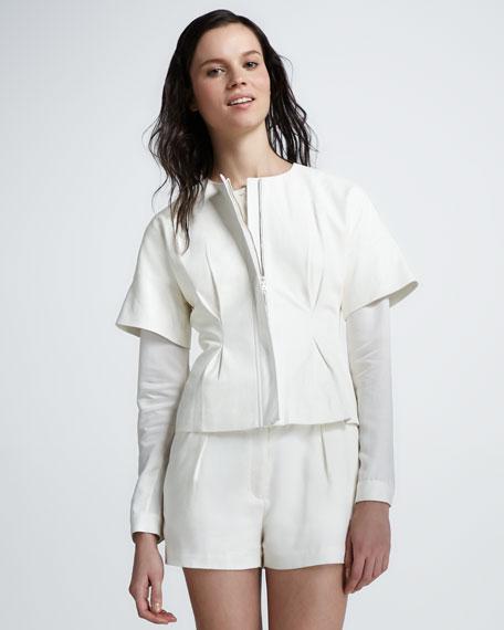 Viola Leather Short-Sleeve Jacket