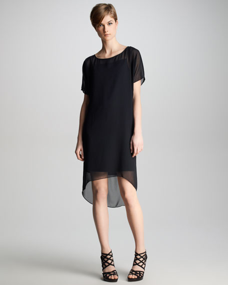 Marisa Sheer-Overlay Dress, Black