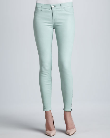 L8001 Leather Skinny Jeans, Mint