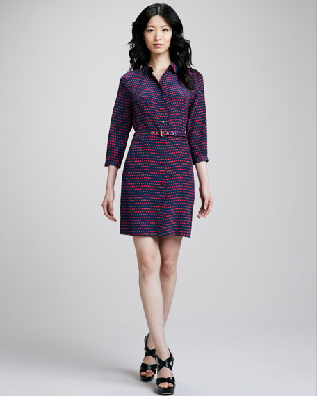 Izzy Dot-Print Belted Dress