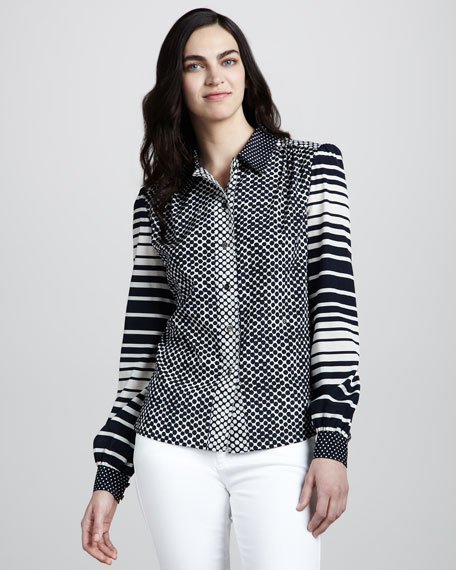 Angelique Printed Silk Blouse