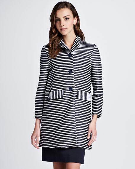 Elaina Raffia Striped Coat