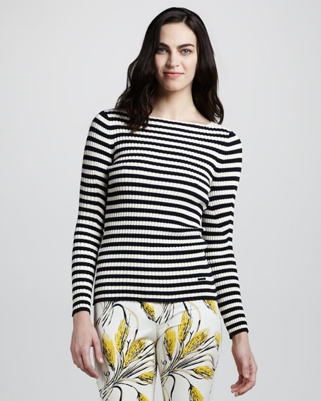 Verona Striped Ribbed Sweater