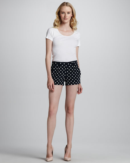 Fran Faux Mother-Of-Pearl-Stud Shorts