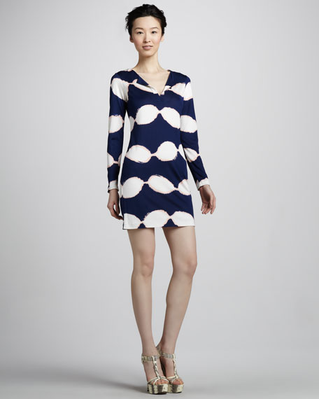 Reina Long-Sleeve Shibori Jersey Dress