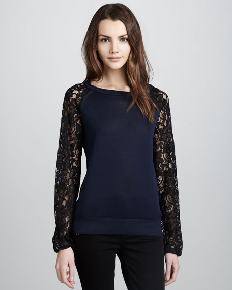Avani Lace Silk-Blend Top