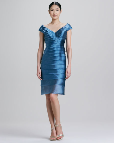 Tiered Satin Cocktail Dress