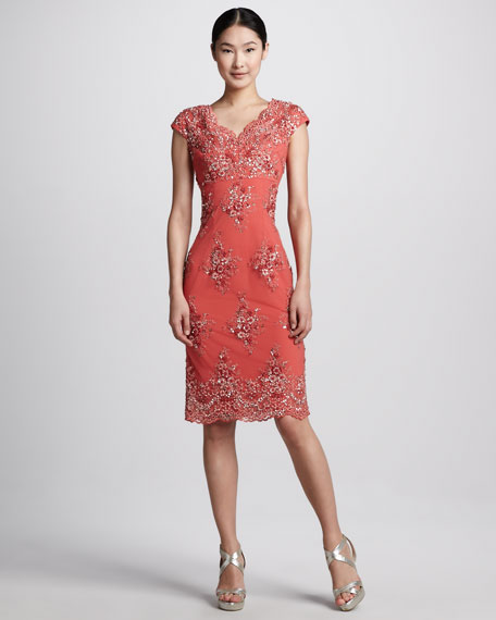 Floral-Embellished Cocktail Dress