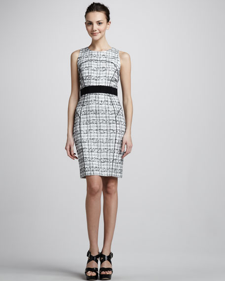 Piped Plaid Sheath Dress