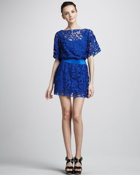 Drop-Waist Lace Dress with Bateau Neckline