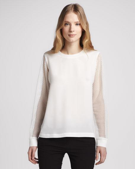 Mesh-Sleeve Sweatshirt