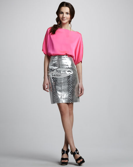 Mirrored Leather Skirt