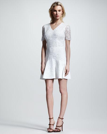 Bianca Sheer-Sleeve Lace Flounce Dress