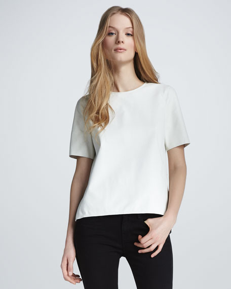 Short-Sleeve Leather Tee