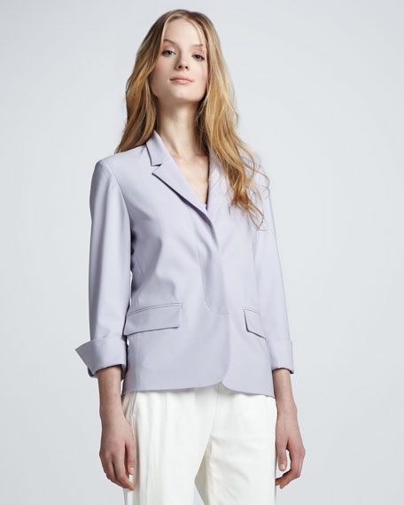 Covered-Placket Crepe Blazer