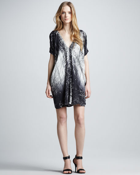 Graffiti-Print Silk Dress
