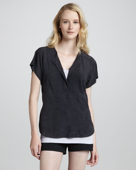 Suede Half-Placket Top