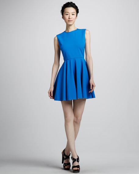 Jeannie Fit-and-Flare Dress, Electric Blue