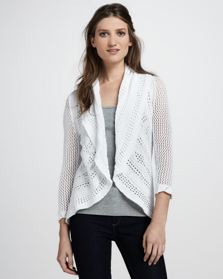 Draped Pointelle Cardigan, Bleach White
