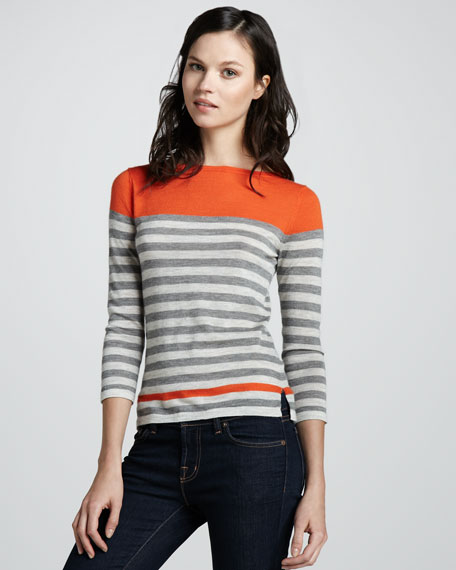 Engineered Stripe Cashmere Sweater