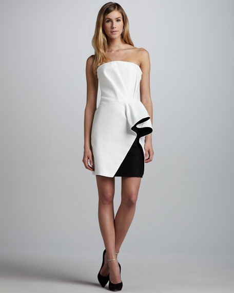 Colorblock-Ruffle Strapless Dress