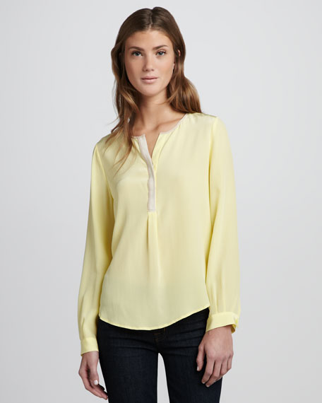 Colorblock Silk Top, Pale Lemon