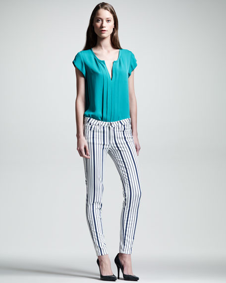 Nailah Striped Stretch Jeans