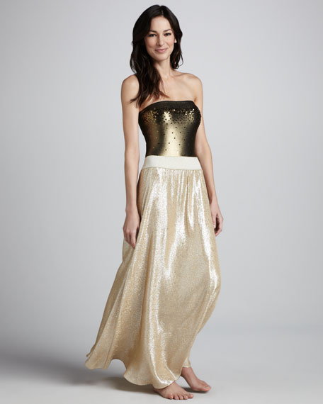 Shimmery A-Line Skirt, Gold