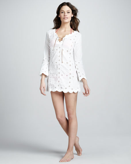 Floral-Cutout Cotton Coverup