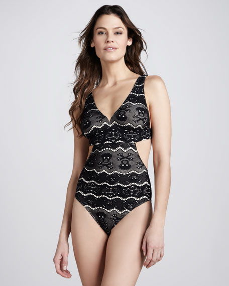 Skull Lace Scoop-Neck One-Piece Swimsuit