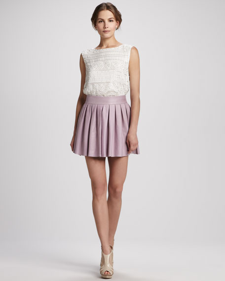 Short Box-Pleat Leather Skirt