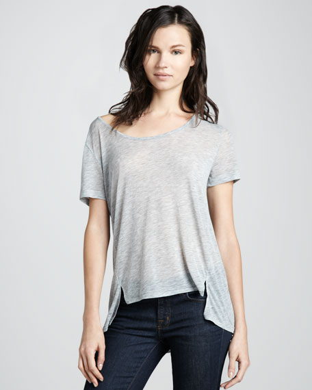 Kal Asymmetric-Hem Tee, Heather Gray