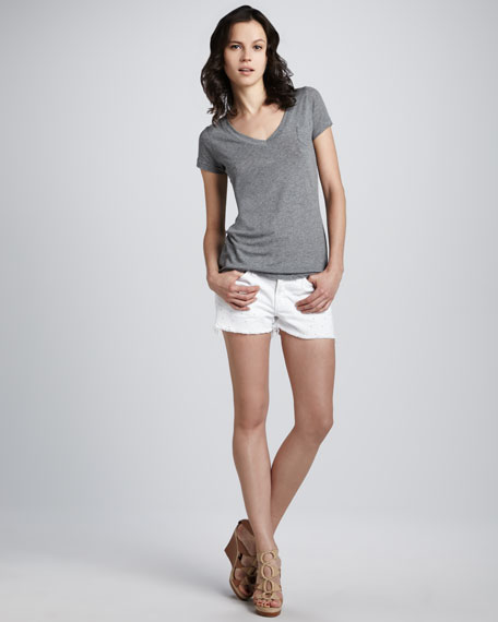 Dot Eyelet Cutoff Shorts