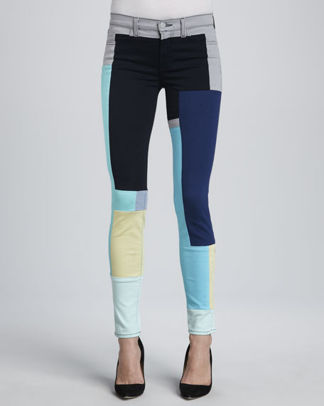 619 Super Skinny Colorblock Jeans