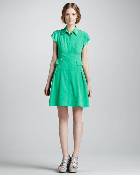 Flawless Pleated Shirtdress, Clover