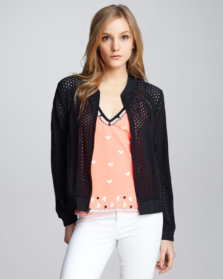 Club Queen Perforated Bomber Jacket